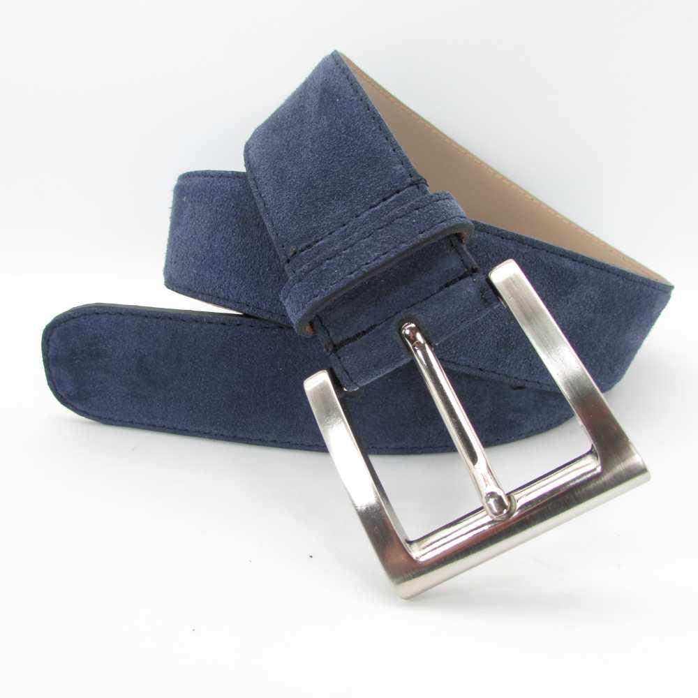 Blauer Velourledergürtel 4 cm breit mit Silberschnalle 1