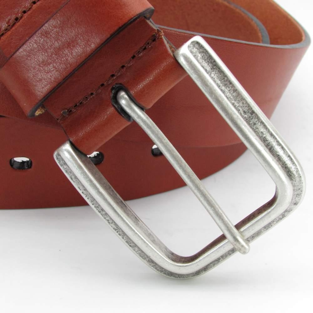 Cognacfarbener Jeansgürtel mit altsilberschließe 4 cm breit 2