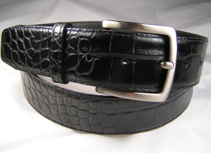 Herrengürtel Kroko schwarz 4 cm