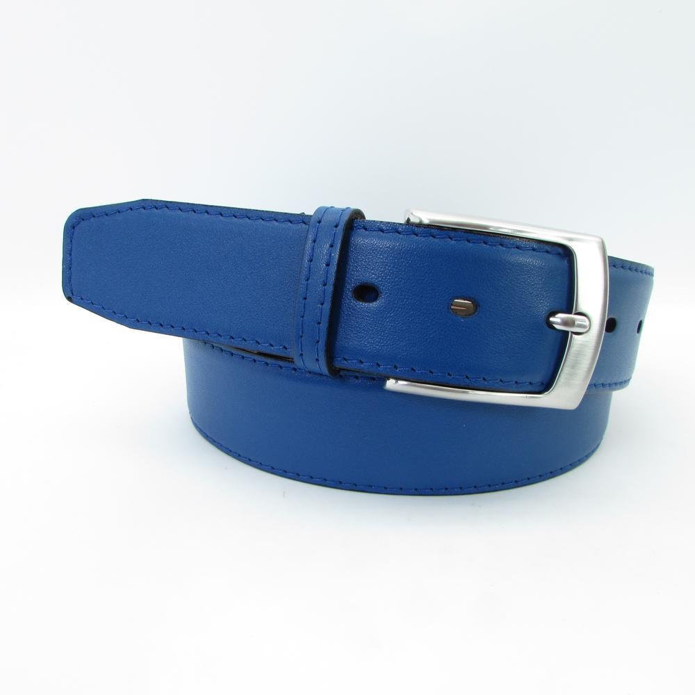 Hellblauer Gürtel mit Silberschnalle 4 cm breit