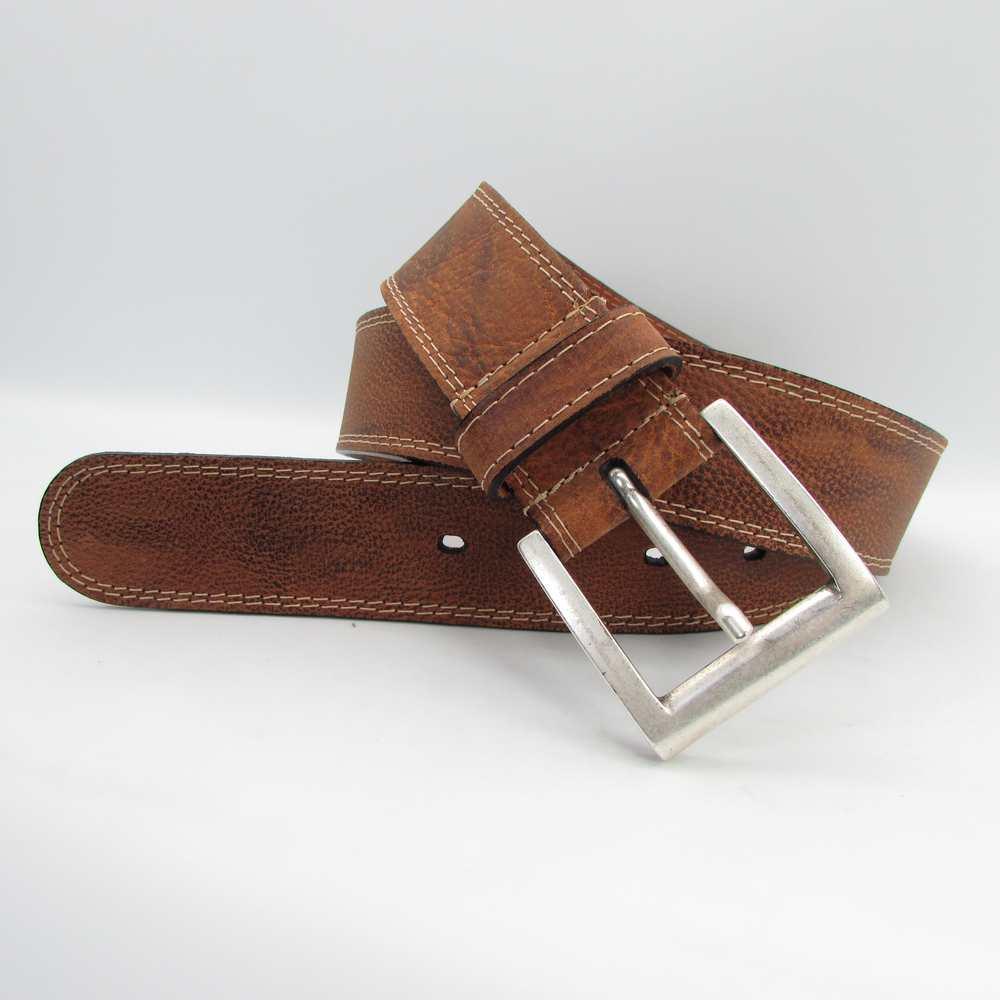 Herrengürtel mit Doppelnaht und Altsilberschließe 4 cm breit