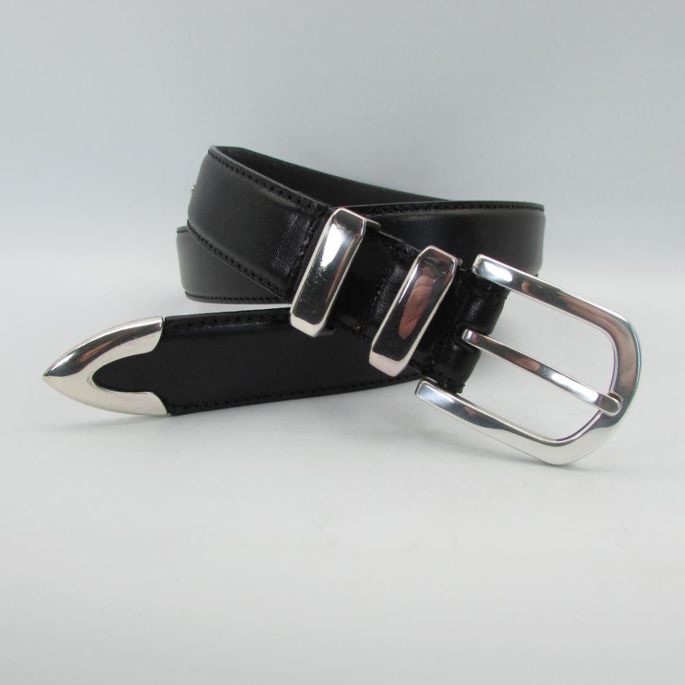 Schwarzer Gürtel mit 4 teiliger silberner Schließengarnitur 3 cm breit 5