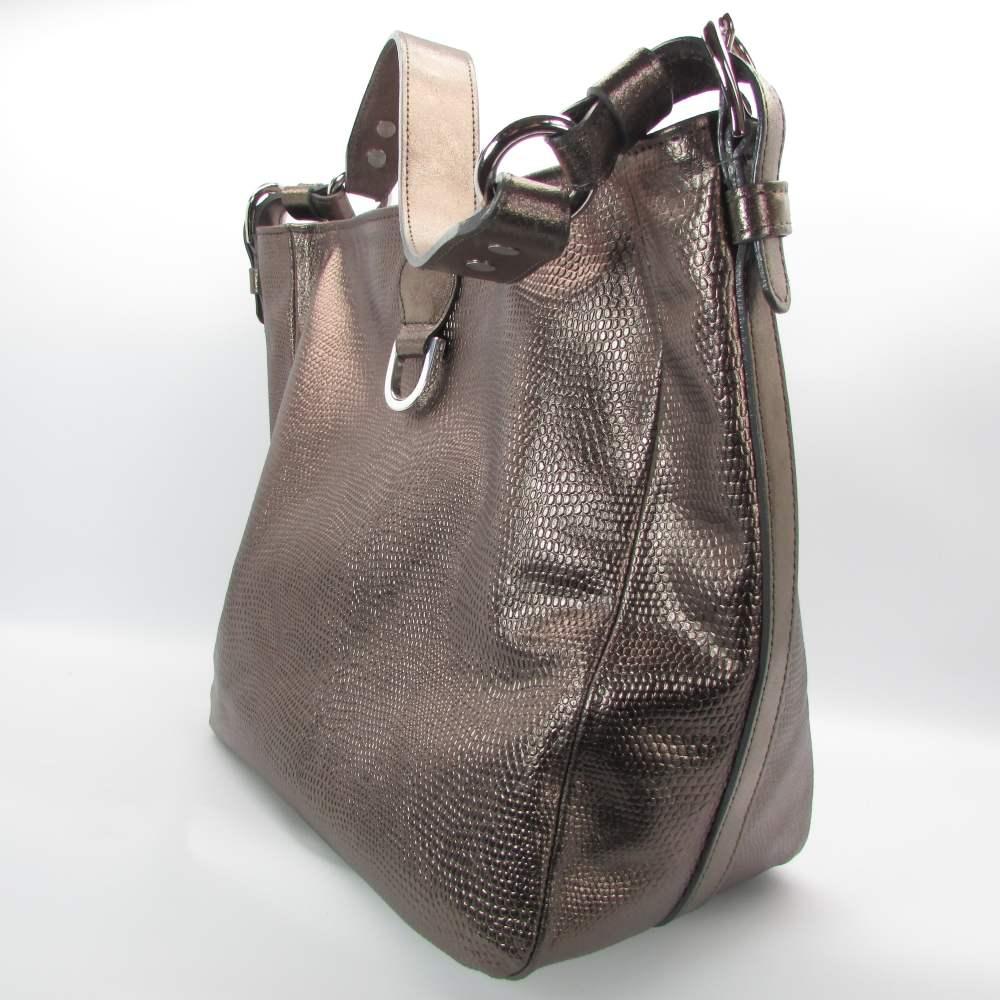 Zinnfarbene Damenhandtasche mit Eidechsenprägung 1